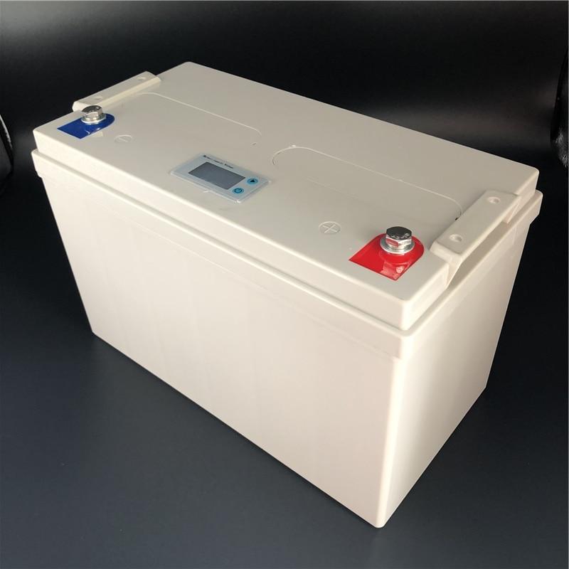 LiFePO4 Lithium fer 12.8V 100Ah batterie Pack LCD afficher tension capacité libre entretien Cycle profond pour RV Camping système solaire
