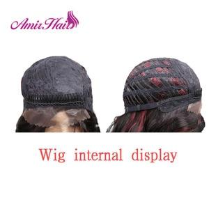 Image 5 - Amir Lange Water Wave Lace Front Synthetische pruiken Voor Zwart Wit Vrouwen Hittebestendige Ombre Zwart Blond Rode Kleur Haar cosplay