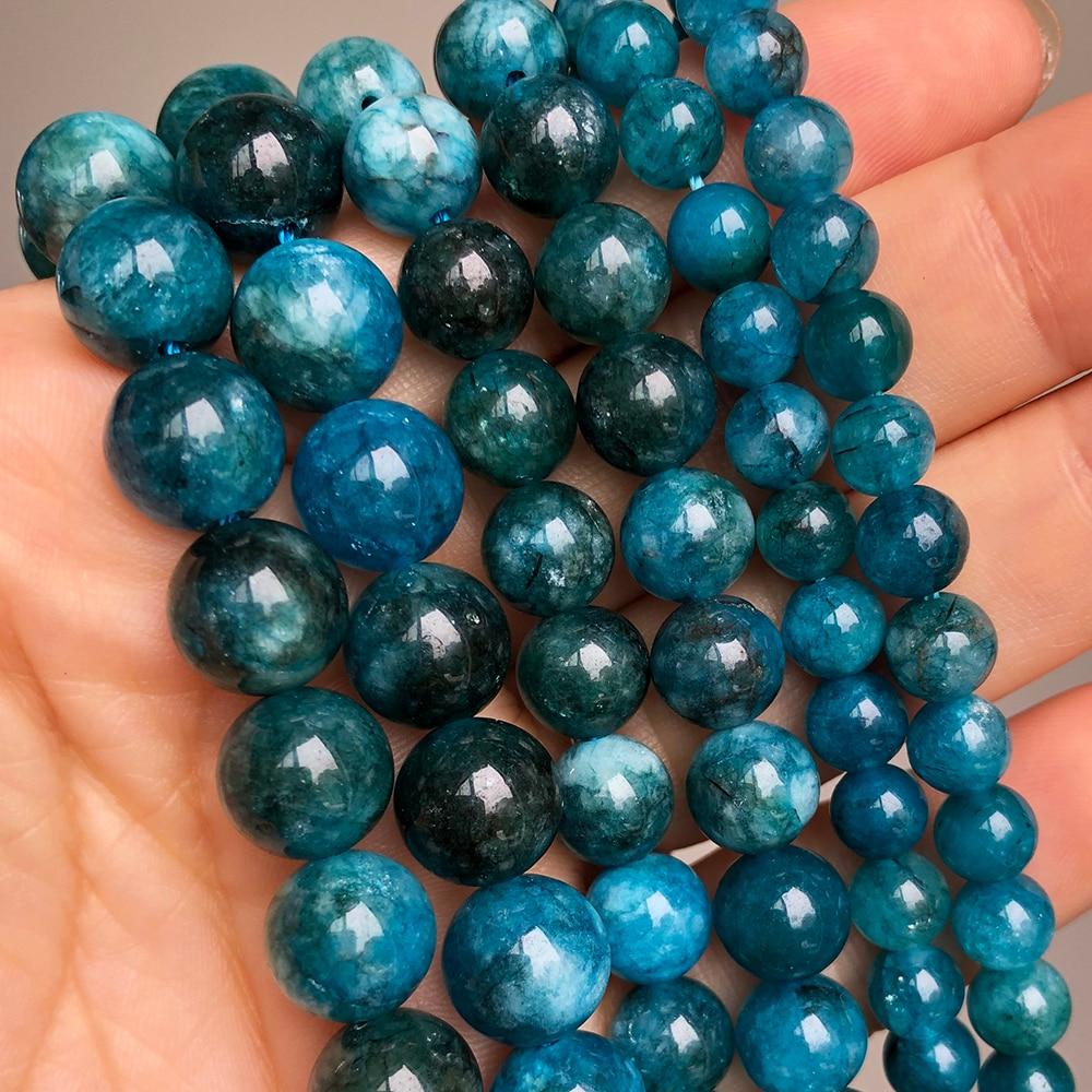 Blau Apatit Stein Perlen Glatte Runde Lose Spacer Perlen Für Schmuck DIY Machen Armband Ohrringe Zubehör 15'' 6 8 10mm