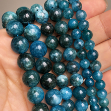 Blue Apatite Stone Beads Smooth Round Loose Spacer Beads For Jewelry DIY Making Bracelet Earrings Accessories 15'' 6 8 10mm