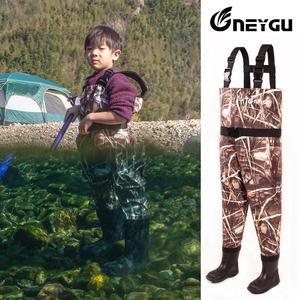 Image 5 - NEYGU pantalons de wading imperméables pour enfants avec bottes dhiver, wader respirant pour enfants pour la pêche et jeux deau