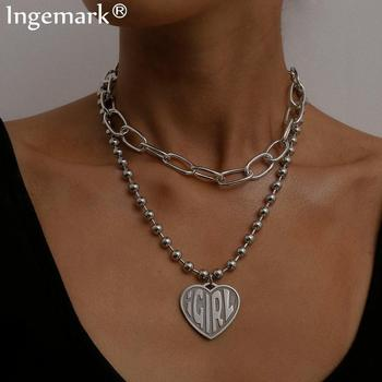 цена на Gothic Layered Heart Girl Letter Pendant Choker Necklace Steampunk Silver Color Bead Chunky Chain Necklace Collier Women Jewelry