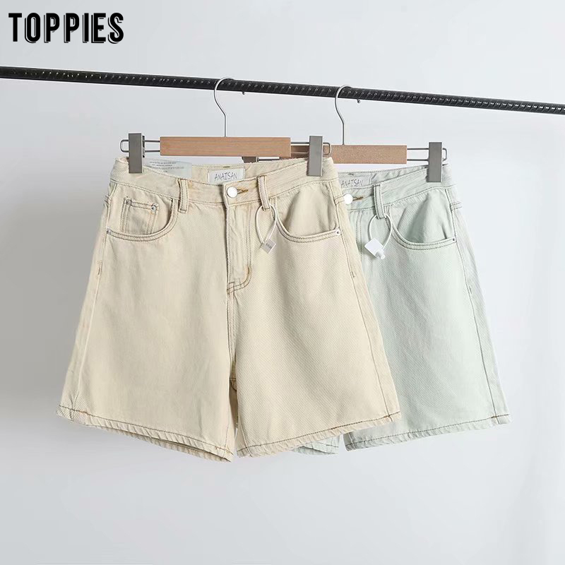 Toppies Summer Beige Green Jeans Shorts High Waist Denim Shorts For Women Vintage Streetwear