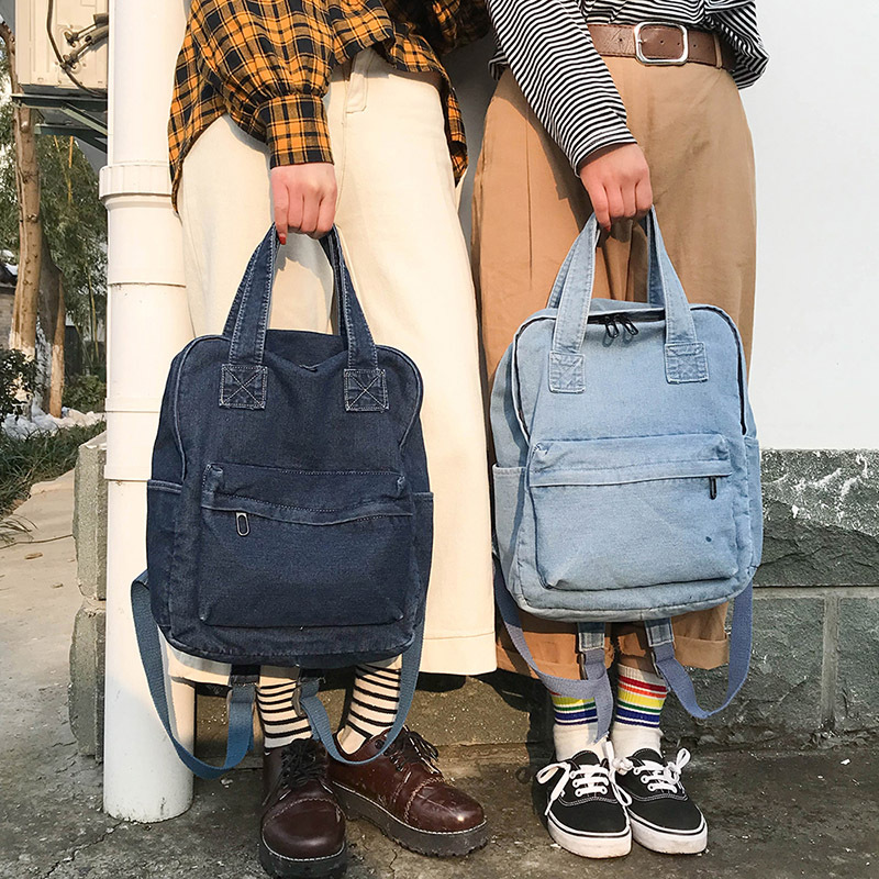 Backpack Women 2019 Fashion College Denim Bag Simple Wild Solid Color Student Backpacks For Teenager Girls Female Bag Backpack
