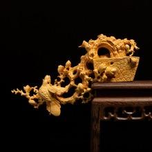 부티크 기쁨과 함께 빛나는 회양목 조각 중국 스타일 룸 장식 조각 수공예품 컬렉션 나무 홈 인테리어