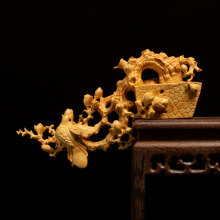 Boutique Be Radiant with Joy Boxwood Carving Chinese Style Room Decoration Carving Handicraft Collection Wood Home Decoration