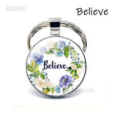 Believe Bible Verse Quote Key Chain Glass Cabochon Jewelry Keychain Christian Pendant Inspirational Keyring Gifts the lord is near all who call ont to him bible verse psalm quote key chain glass jewelry christian pendant keyring keychain gift