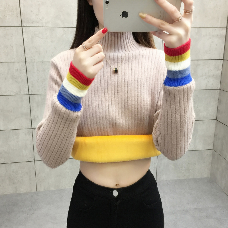 NORMOV Autumn Winter Turtleneck Sweaters Women Knitted Plus Velvet Pullover Long Sleeve Sweaters Female Warm Jumper Sweater Tops