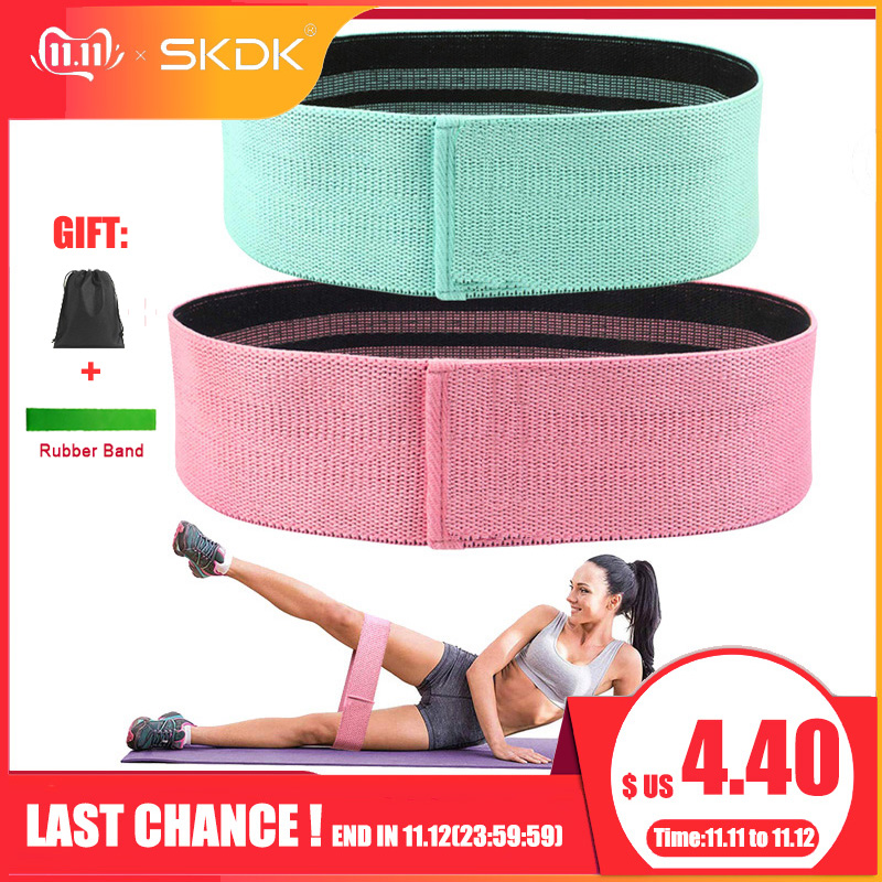 SKDK 1PC Hip Band Cotton Yoga Resistance Band Wide Fitness Exercise Legs Band Loop For Circle Squats Training Anti Slip Rolling