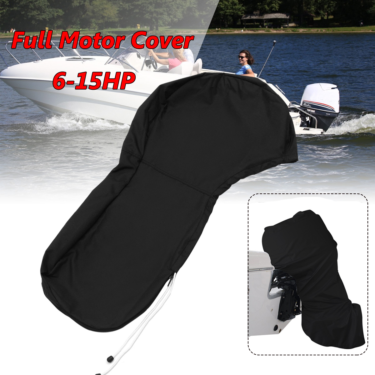 600D Black Boat Full Motor Cover Outboard Engine Cover Protective Bag Fits For 6 To 15HP Motor Waterproof