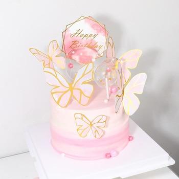 Topper de mariposa para tarta de feliz cumpleaños, Set de papel de aluminio dorado para Cupcake de boda para niños, adornos de pastel de cumpleaños, fiesta, Baby Shower
