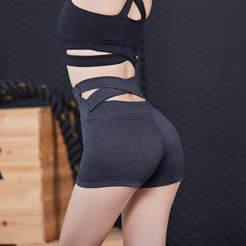 New High Waist Lady Pants Back Cross Women Hip Tight Pants Sports Casual Pants Running Fitness Shorts