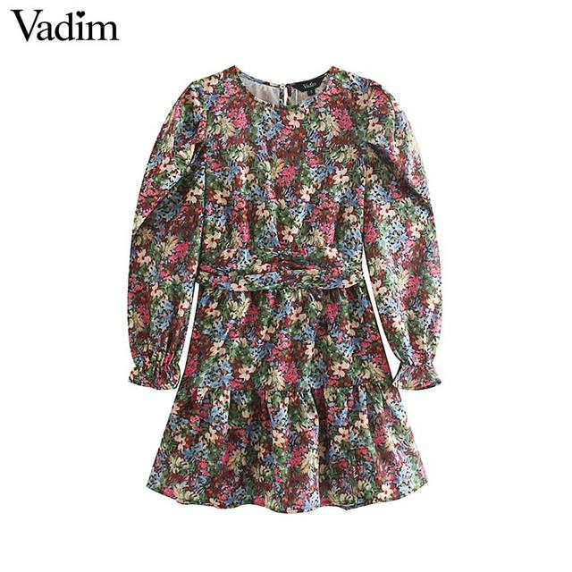 Vadim femmes doux motif floral mini robe côté fermeture éclair à manches longues coupe mince mignon femme casaul robes élégantes vestidos QC862