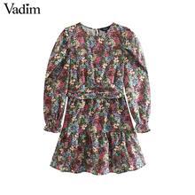 Vadim frauen süße floral muster mini kleid seite zipper langarm slim fit nette weibliche casaul elegante kleider vestidos QC862