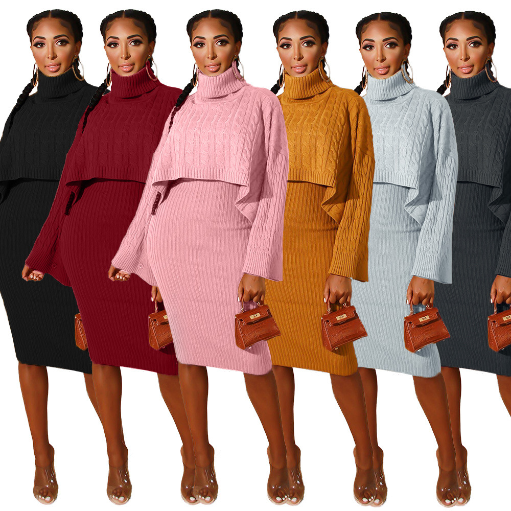 Women Two Piece Sets Knitted Suit With Dress Autumn Winter Warm  Tracksuit Turtleneck Long Sleeve Matching Sets Pink  Plus Size