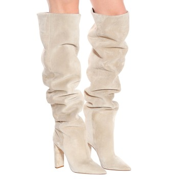 ENMAYER Faux Suede Over The Knee High Slouchy Boots Pointy Toe Chunky Heel Long Ladies Winter Heeled Shoes Women