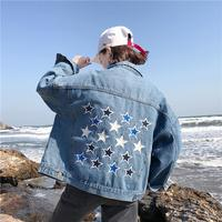 Coats and Jackets Women Spring and Autumn New Loose Jean Jacket Academic Five pointed Star Embroidered Fashion Denim Jacket