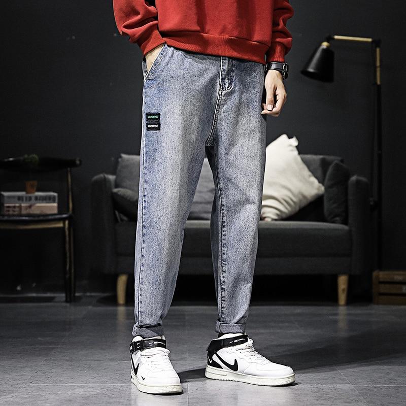 Korean Style Fashion Men Jeans Loose Fit Retro Blue Harem Pants Vintage Designer Streetwear Hip Hop Jeans Men Pencil Pants Homme