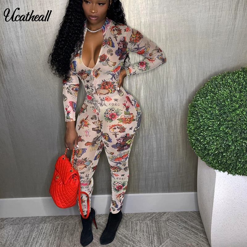 Autumn Long Skinny Rompers Womens Jumpsuits Sexy Bodycon Long Sleeve Printed Jumpsuit For Women