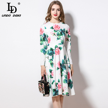 Ld linda della 2020 primavera moda pista casual vestido feminino manga longa rosa flor floral impressão férias midi elegante vestido