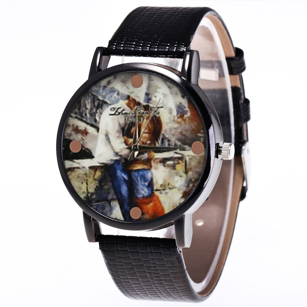 Quartz Watch Men Leather Strap Korean Women Student Couple Watch With Round Dial LL@17
