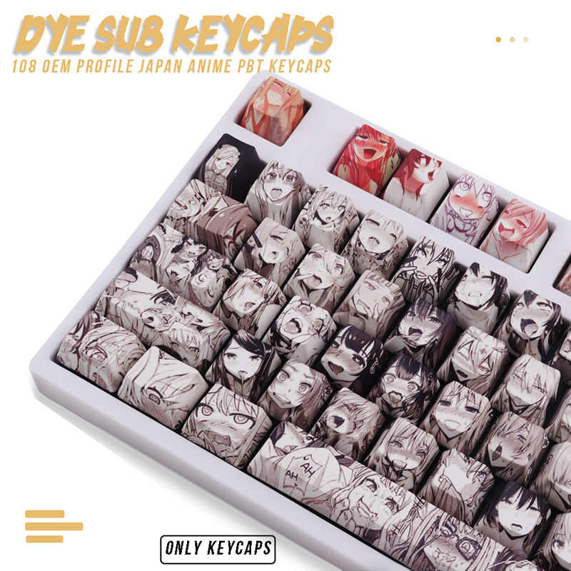 108key PBT Keycap Dye Sublimasi OEM Profil Anime Jepang Tombol Untuk Cherry Mx Gateron Kailh Switch Mechanical Keyboard
