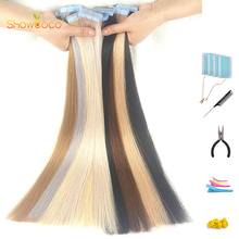 ShowCoco Blonde Tape In Extension 100% Human Hair Natural Machine Made Remy Adhesive Tape 20/40pcs Tape In Human Hair Extensions