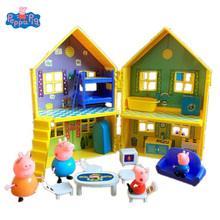 Peppa Pig Villa Deluxe House Peppa George Pig Family PVC Action Figures Toy Kid