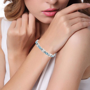 Image 5 - Escalus Bracelet magnétique pour femmes, cristaux bleus, chaînes à maillons, couleur argent, en acier inoxydable, nouvelle collection de bijoux, idée cadeau, 24 pièces