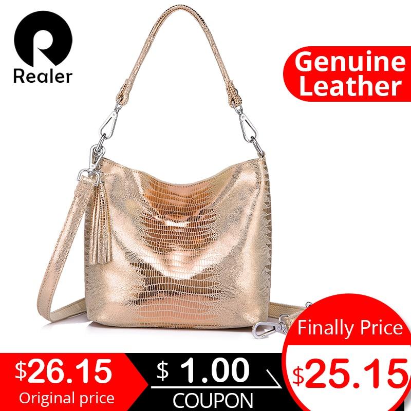 REALER Women Handbags Genuine Leather Crossbody Shoulder Bags Female Animal Prints Messenger Hobos Bags Ladies Small Top-handle