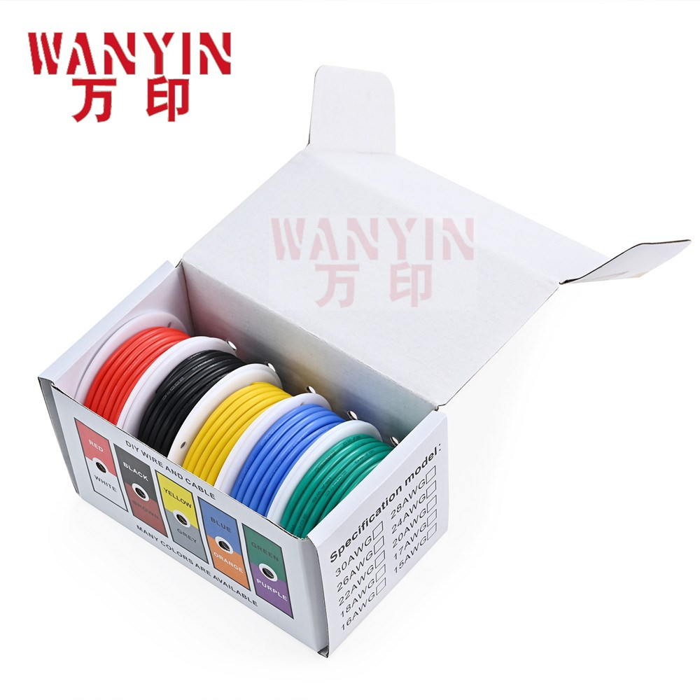 High quality super soft silicone wire and cable household DIY 5 colors mixed box wire tinned pure copper