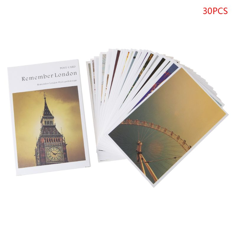 30 Sheets London Paintings Retro Vintage Postcard Christmas Gift Card Wish Poster Cards H7EC