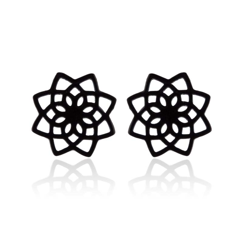 Stainless Steel Cute Black Color Lotus Flower Small Stud Earrings Charm Flower Earrings for Women Kids Jewelry Gift