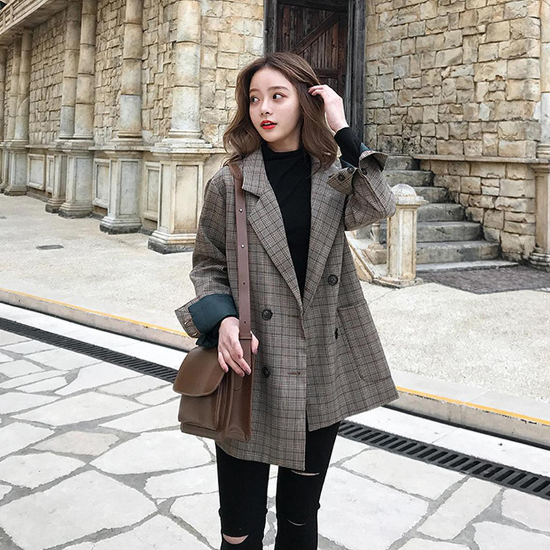 Fannic  Vintage Double Breasted Office Ladies Plaid Blazer Long Sleeve Loose Retro Suits Coat Jacket Women Blazers Female