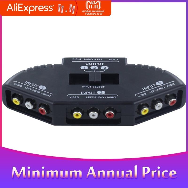 3 In 1 Out AV RCA Switch Splitter RCA Audio Video Switcher Converter With AV Cable