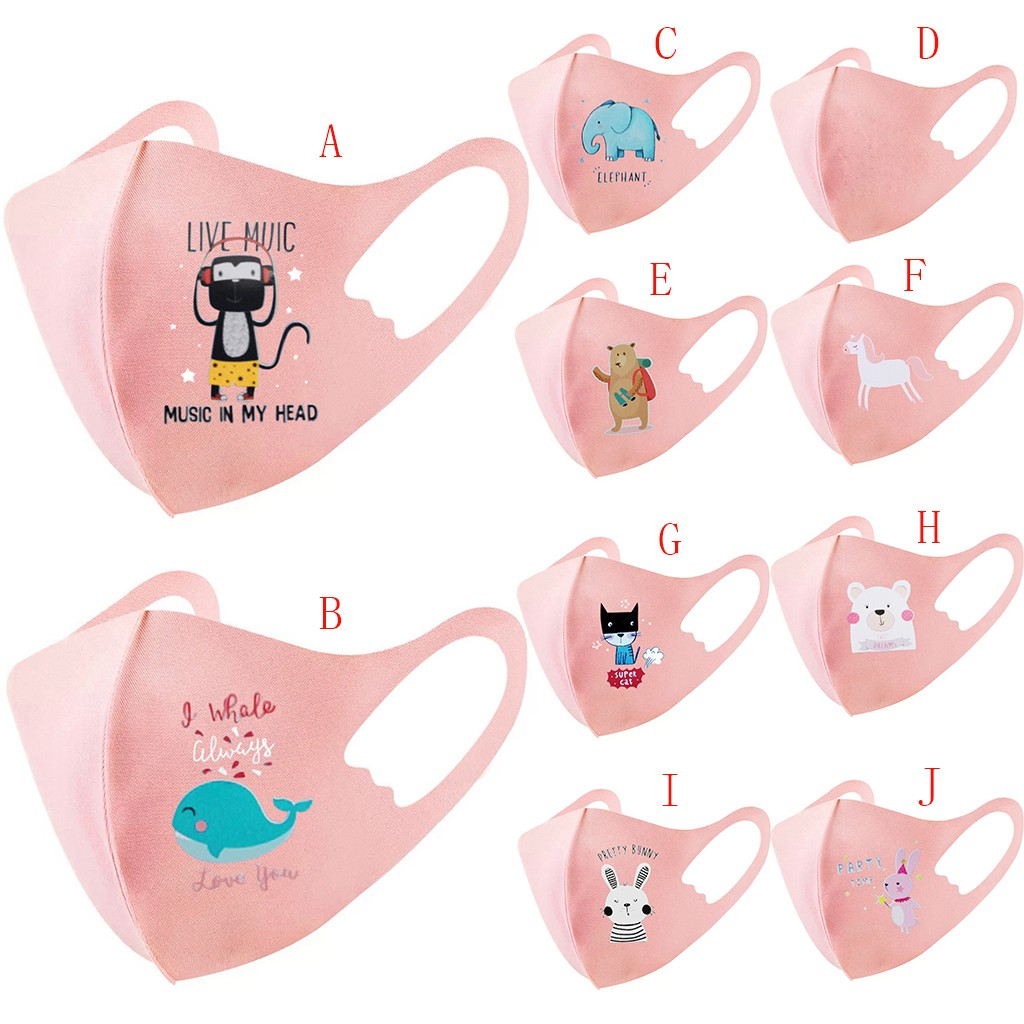 1PC Child Kids Baby Breathable Filter Safet Protect Thin Type Mask Cartoon Mask Reusable Washable Air Purifying Bike Facemask