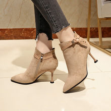 2019 Fashion High Heels Boots for Women Winter Shoes Pointed toe Sexy Ladies Ankle Boots Women Winter Boots Thin Heel 8cm A1659(China)