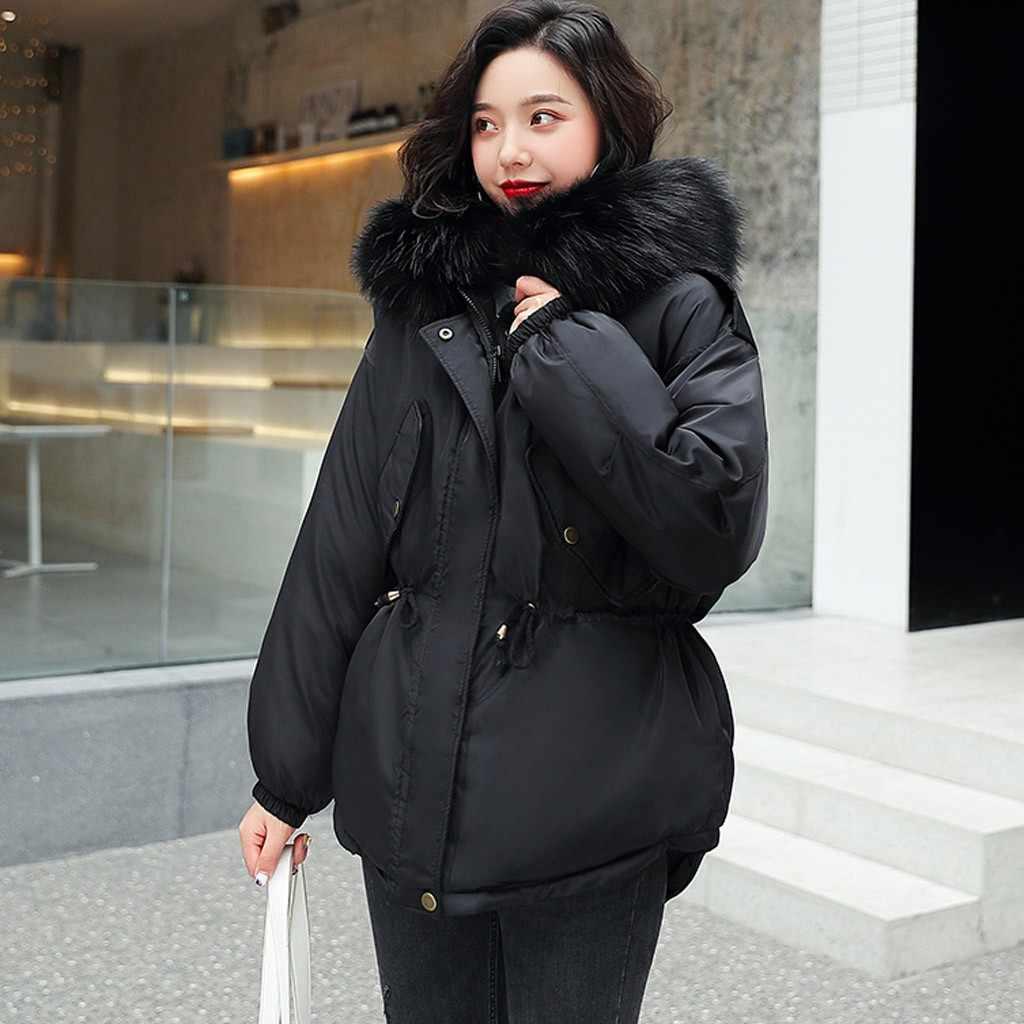 Wanita Parka Wanita Berkerudung Padat Hangat Panjang Tebal Bulu Kapas Jaket Slim Lengan Panjang Kantong Berkerudung Mantel Panas dijual