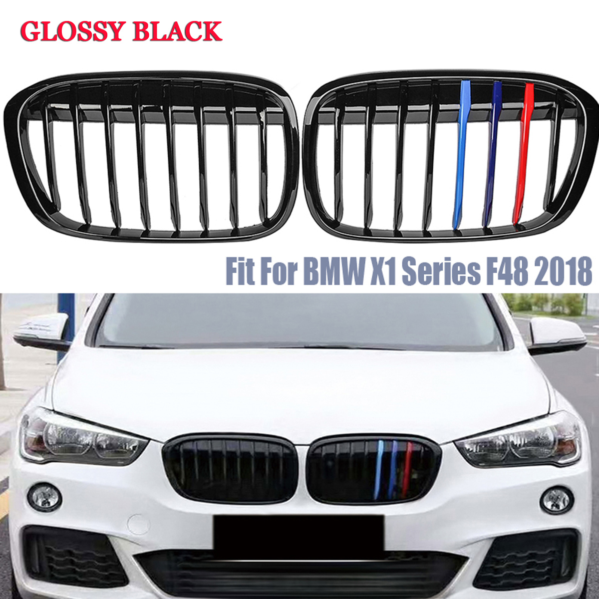 For BMW X1 X-Series F49 F48 16-18 Present Gloss Black Front Kidney Grilles Grill