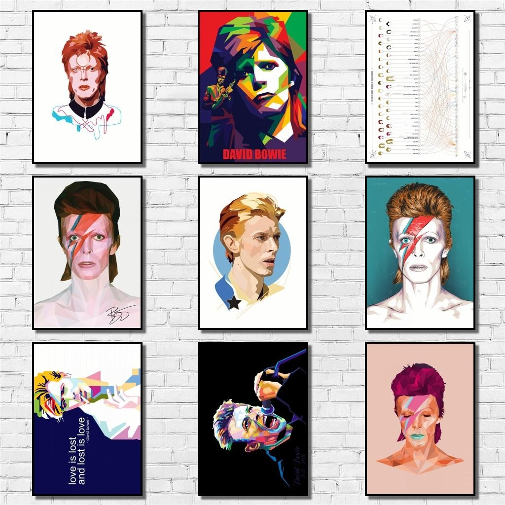 Fashion David Bowie Whitepaper Poster Abstract Rock Star Painting Cartoon Pop Art Vintage Wall Sticker for Coffee House Bar