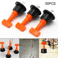 50pcs Plastic Flat Ceramic Leveler Floor Wall Construction Tools Reusable Tile Leveling System Kits AC889