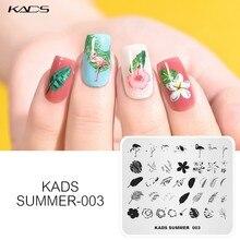 Kads placas de carimbo de unhas tema verão flamingo folhas overprinting manicure stamping modelos estêncil para a arte do prego stamper