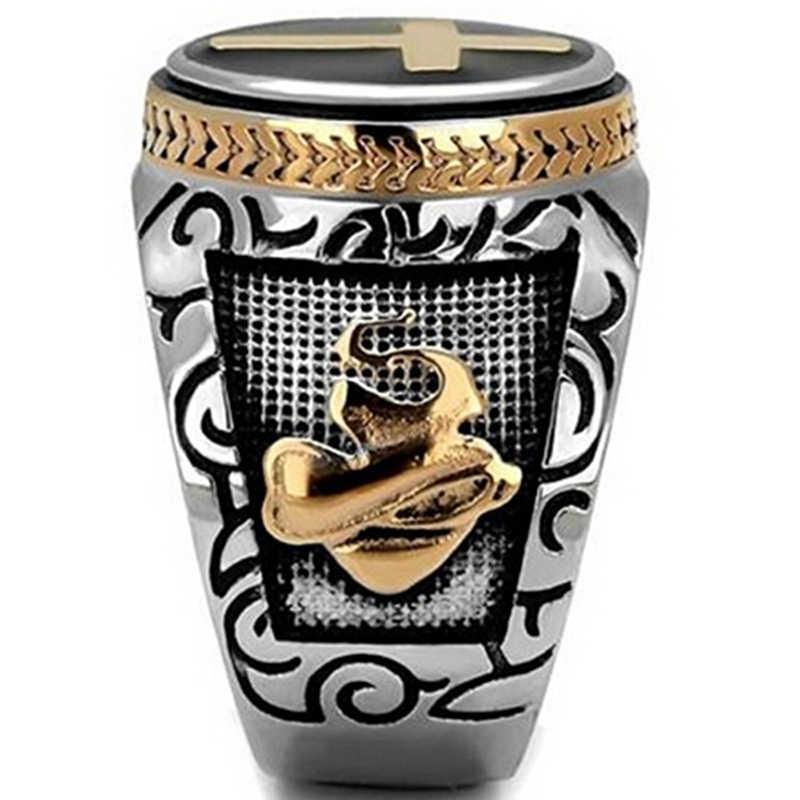 אופנה זכר צלב שני טון טבעת פאנק מגניב שחור שמן ציור יד של אלוהים טוטם אצבע טבעות היפ הופ תכשיטי Z3P497