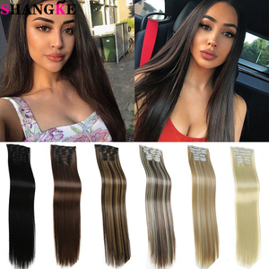 SHANGKE Long Straight Natural Black Brown Clip In Hair Extension 6 Pcs/Set 16 Clips Synthetic Heat Resistant Hairpiece For Women