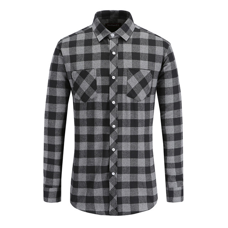 JeeToo Men Plaid Shirt 2019 New Autumn Winter Flannel Casual Shirt Men Shirts Long Sleeve Chemise Homme Cotton Male Check Shirts-in Casual Shirts from Men's Clothing on AliExpress - 11.11_Double 11_Singles' Day 1