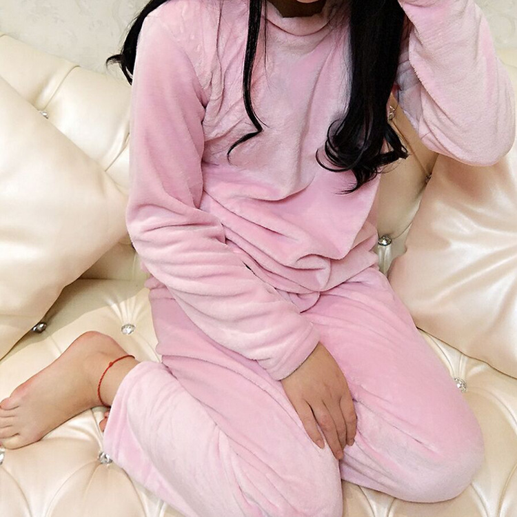 Korean-style WOMEN'S Pajamas Winter Thick Warm Flannel Slim Fit Crew Neck Long Sleeve Pullover Homewear Set