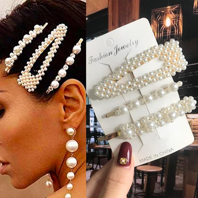 Simulated Pearl Barrettes Beaded Geometric Women Hair Clip Hairgrips Hair Accessories Girls Jewelry Fashion Hair Pins 3