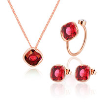 jewelry set red crystal pendant necklace earrings for women rings wedding jewelry making fashion necklace jewelry accessories(China)