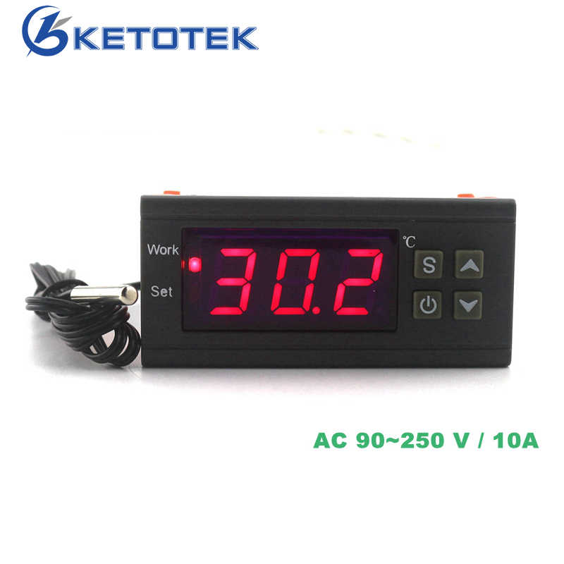 110V 220V 12V Digital Thermostat Temperature Regulator Thermoscope untuk Pemanasan Inkubator Pendinginan Kontrol-50 ~ 110