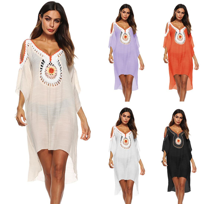 Summer Women Beach Tunic Dress Sexy Deep V Neck Hollow Out Cold Shoulder Front Short Back Long Dress Beach Cover Up Sarong A7